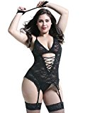 Anyou® Plus Size Lingerie Sets Stretchy Lace Women Lingerie Chemise Nightwear With Hand-Cuff,G-String,Stockings