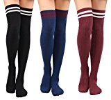 Women's Thigh High Cable Knit Striped Winter Socks – 1-3 Packs